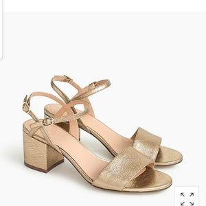 Strappy block-heel sandals in metallic gold